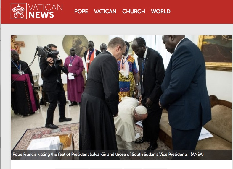 Pope Francis stuns all as he kisses feet of African leaders begging them to work for peace…A very Holy Thursday Event!